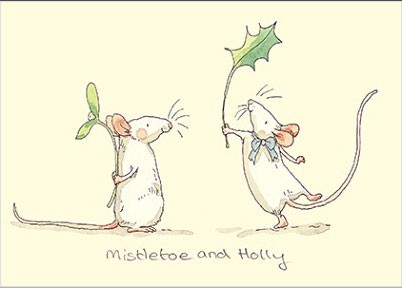 """Mistletoe and Holly"" Doppelkarte von Two Bad Mice"