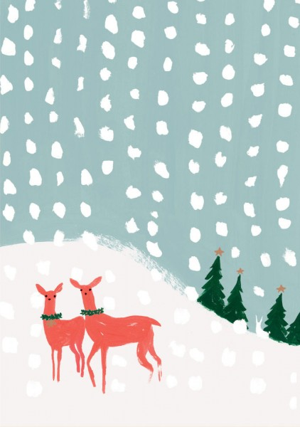 """Doppelkarte ""Deer in Snowfall"""