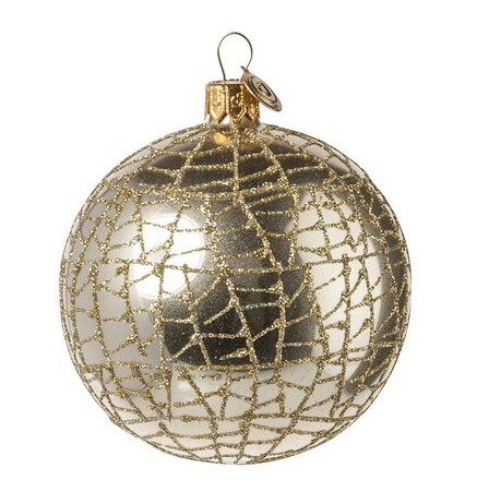 "Christbaumkugel ""Net"" gold mit Glitzernetz, D. 10 cm"