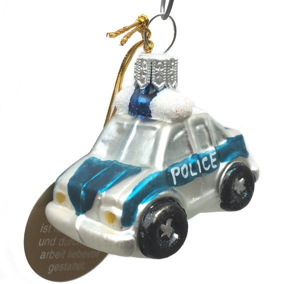 Christbaumkugel Polizei-Auto, mini